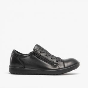 719d89d1 ECCO COHEN Girls Lace Up Patent Leather Shoes Black ...