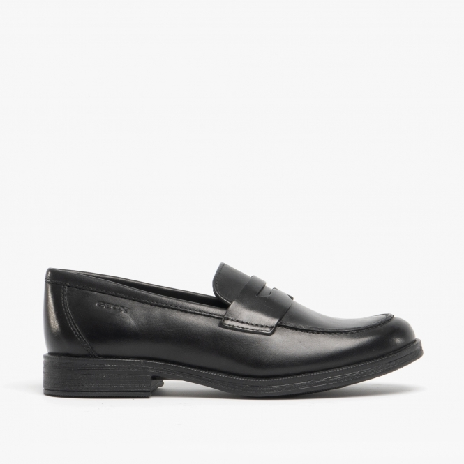 GEOX AGATA LOAFER Girls Leather Penny Loafers Black | SchoolShoes.co.uk