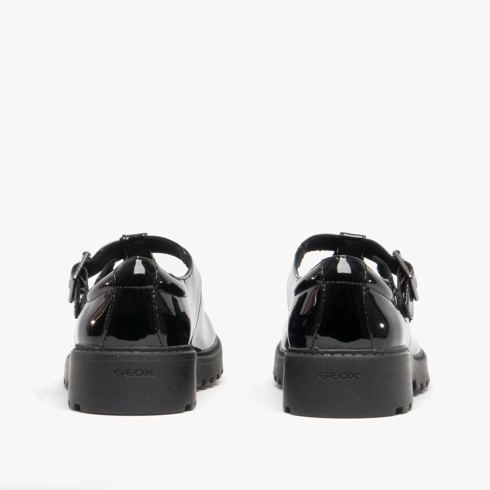 sagrado ex apetito  GEOX J CASEY Girls Patent Buckle School Shoes Black   SchoolShoes.co.uk