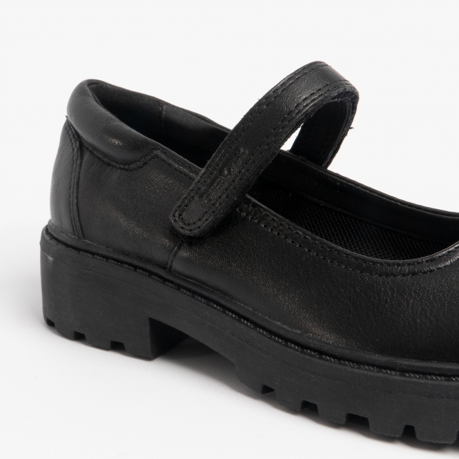 Geox Childrens Girls Casey J6420P Leather Mary Jane School Shoes Black