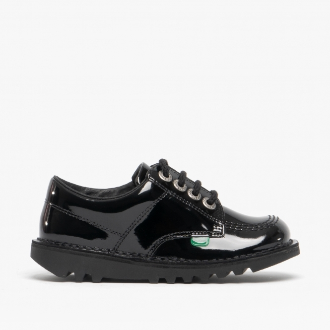 KICK LO Girls Patent Leather Lace Up Shoes Black