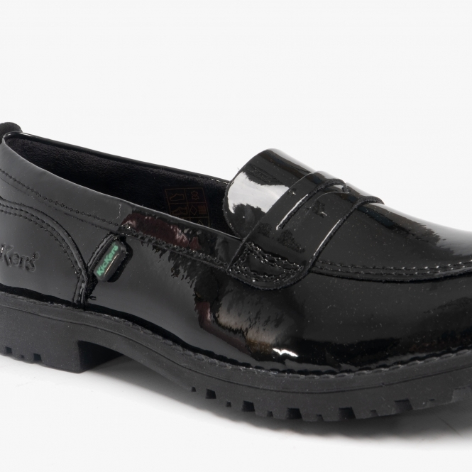 Kickers LACHLY Girls Patent Leather Penny Loafers Black | SchoolShoes.co.uk