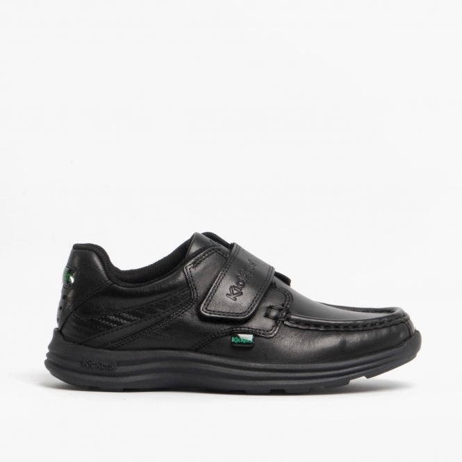 Kickers Reasan Strap Leather Black Boys School Shoes WAS £45.00 NOW £35.00