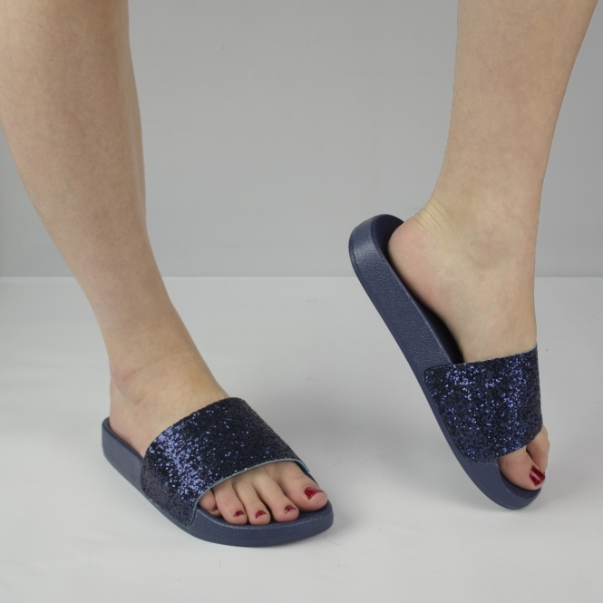 6c8cd15536026 JASMINE Ladies Womens Glittery Slip On Slider Sandals Navy Blue