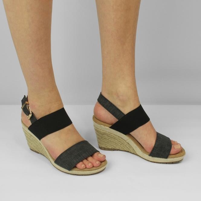 d99cf5e0f97e3c ORANGE GROVE Ladies Womens Elasticated Wedge Heel Sandals Black l ...