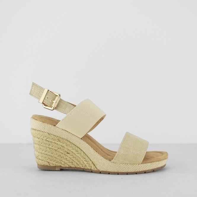 2259a5c8c00deb ORANGE GROVE Ladies Womens Elasticated Wedge Heel Sandals Goldl ...